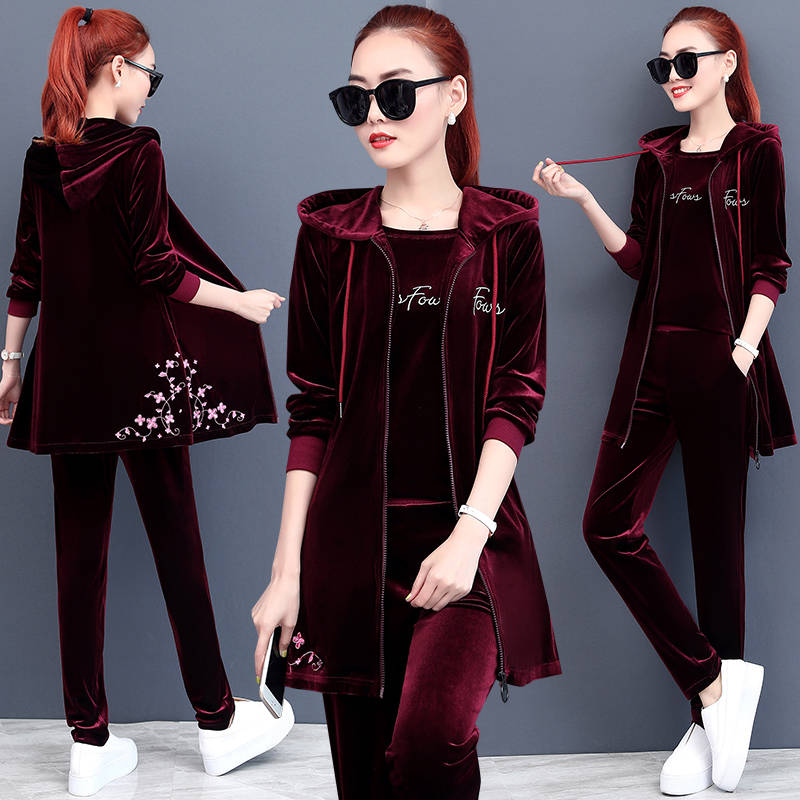 Spring&Autumn Three Pieces Set Hoodie Top T-shirt And Pant Tracksuit Women Set Elastic Waist Leisure 3 Piece Set Women Outfits