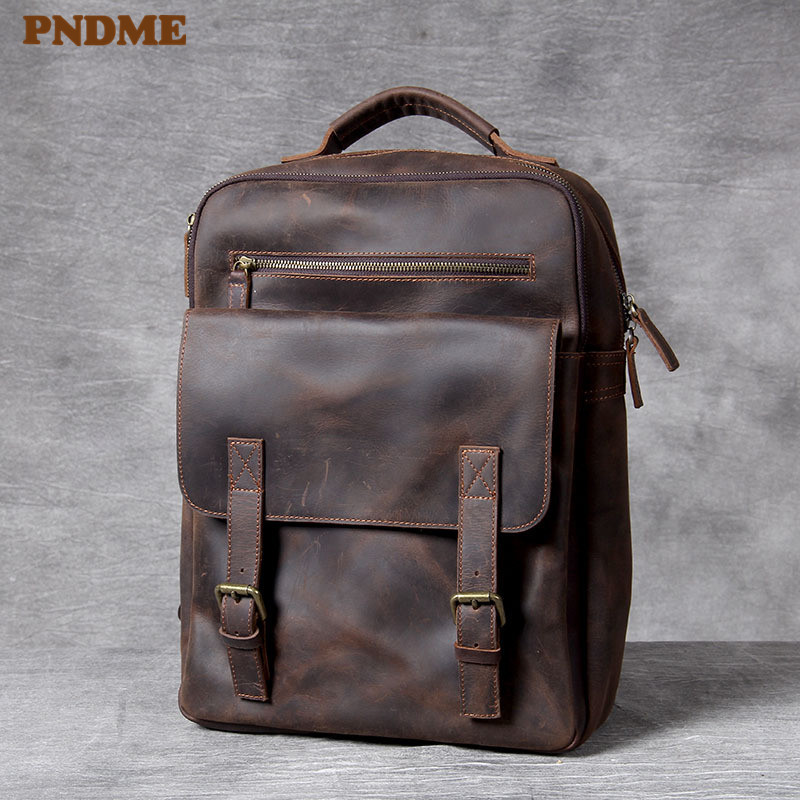Купить винтажный рюкзак из воловьей кожи crazy horse для мужчин и женщин