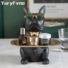 YuryFvna Bulldog Sculpture Table Decoration Multifunction Desk Storage Statue Decorative Coin Bank Home Room Decor Figurine