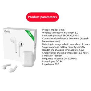 Image 5 - I8mini מיני Bluetooth אוזניות Binaural סטריאו קול מוקפץ חלון TWS אלחוטי Bluetooth 5.0 אוזניות עם 400 mAh שינוי סל