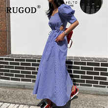 Korean Women Summer Cotton Blue Striped Bandage Split Long Dress Female Long Bod