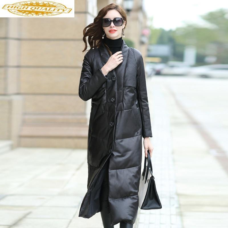 Genuine Leather Jacket Winter Jacket Women Long Down Jackets For Women 100% Real Sheepskin Coat Chaqueta Mujer MY4015