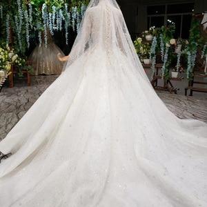 Image 3 - HTL1000 Long Sleeves High Neck Wedding Dresses For Women Pearl Sequin Applique vestidos de noivas de luxo princesa 2020
