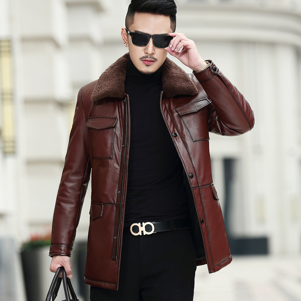 Real Leather Jacket Men Cow Leather Jacket Lamb Fur Collar Duck Down Winter Coat Mens Leather Jacket Casaco MA7211NR90 YY1143