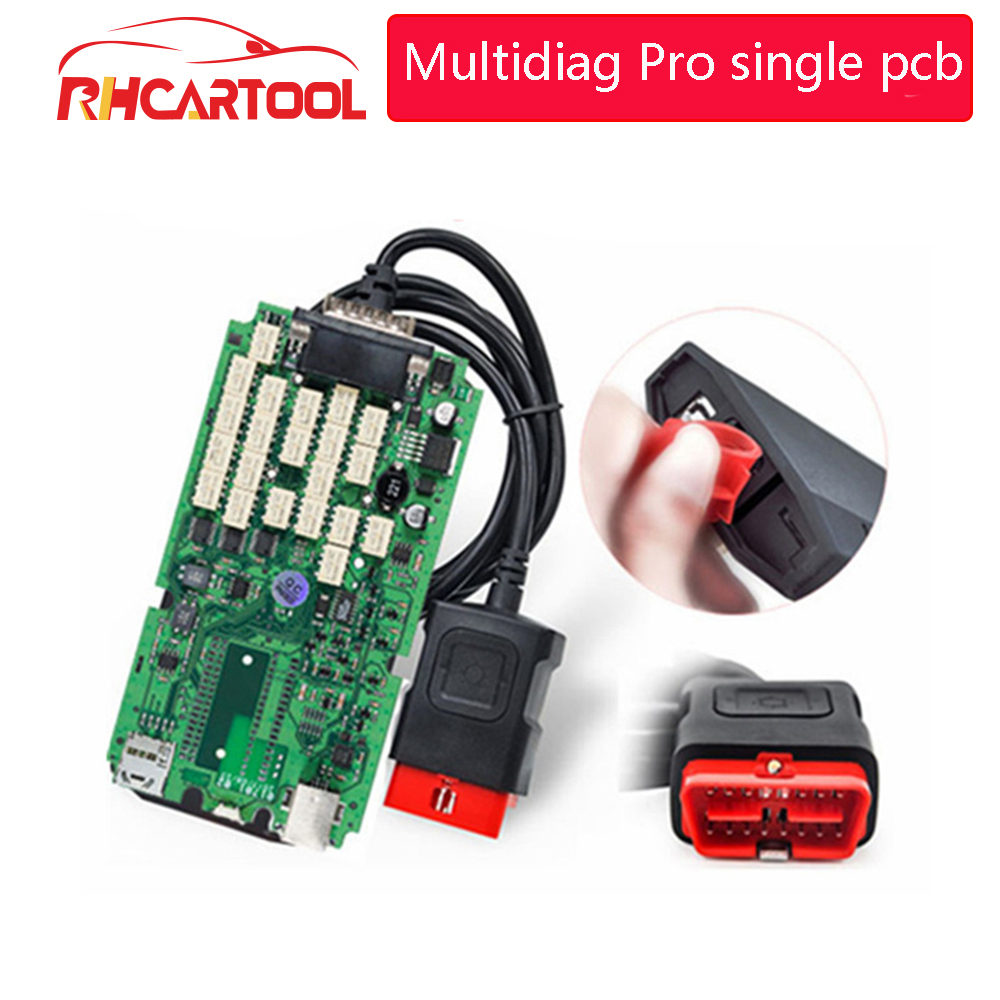 OBD2 Multidiag PRO new VCI 2015 <font><b>R3</b></font>/2016 R1 Single green PCB OBDII Car Truck Diagnostic <font><b>Tool</b></font> Super Multidiag OBD2 Auto Scanner image