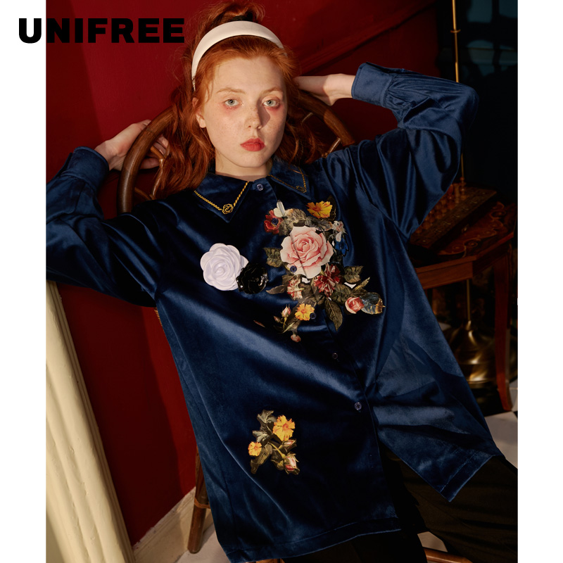 UNIFREE Design Niche Retro Hong Kong Flavor Chic Shirt Women 2019 New Tops U194D907CW