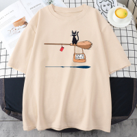 Cute Cat Not In Service Comics Printing Women Soft Cartoons Soft Tshirt Fashion Crewneck Tshirts Vintage Loose T Shirts Couple 1