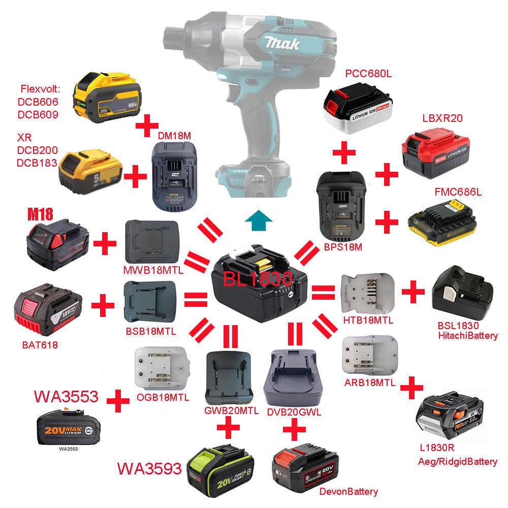 Battery Adapter For MAKITA 20V Li-ion Battery Convert to MAKITA 18V Power Tools