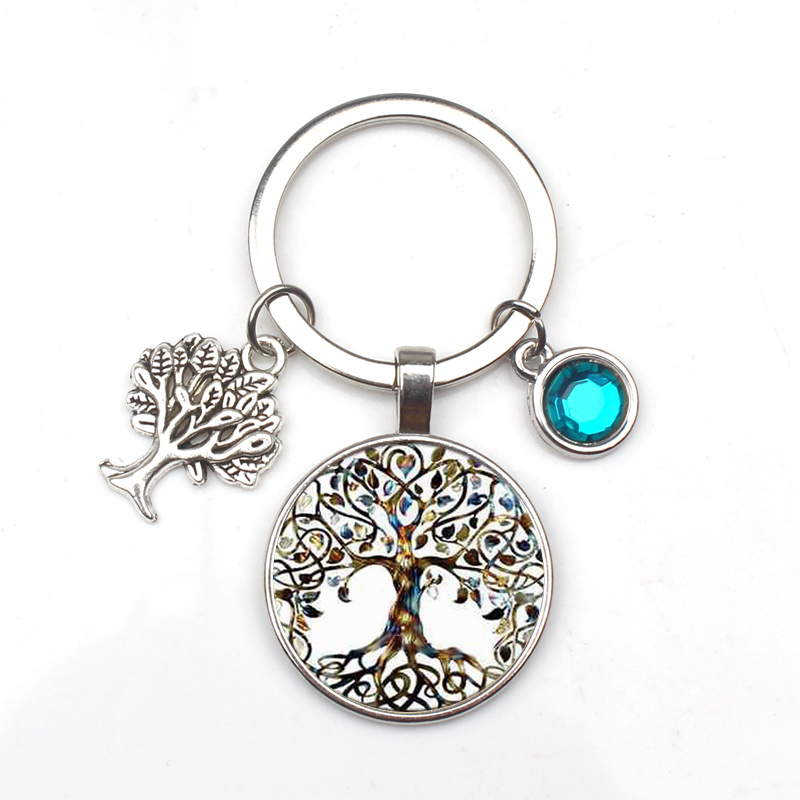 New 9-color Crystal Stone Tree Of Life Statement Keychain Art Photo Glass Pendant Keychain DIY Gift Jewelry Charm Bag Souvenir