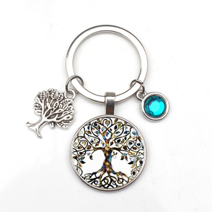 New 9-color Crystal Stone Tree of Life Statement Keychain Art Photo Glass Pendant Keychain DIY Gift Jewelry Charm Bag Souvenir(China)