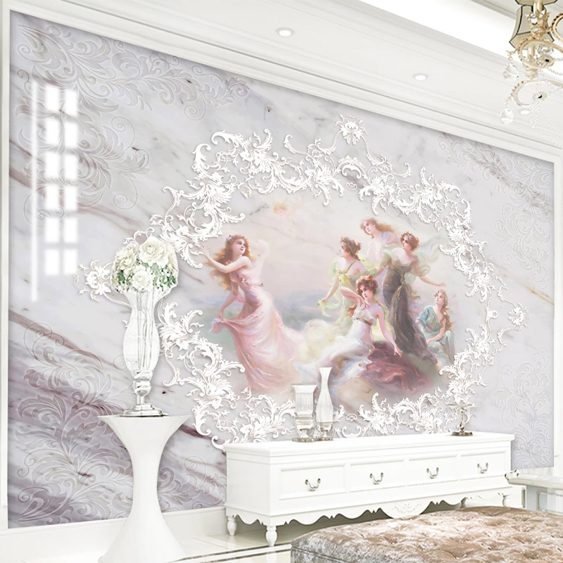 Custom 3D Wallpaper European Style Stereo Angel Jazz White Marble Murals Living Room Bedroom Home Decor Wall Papers For Walls 3D