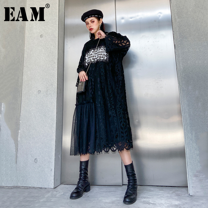 [EAM] Women Black Lace Letter Printed Split Big Size Dress New Round Neck Long Sleeve Loose Fit Fashion Spring Autumn 2020 1R434
