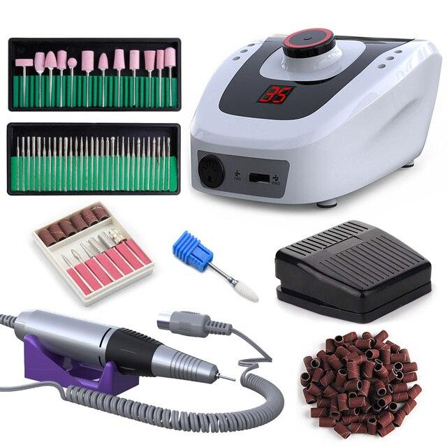Juego de taladro eléctrico para uñas, 35000 RPM, 32W, máquina de manicura y pedicura, accesorios para uñas, juego de herramientas, lima de uñas