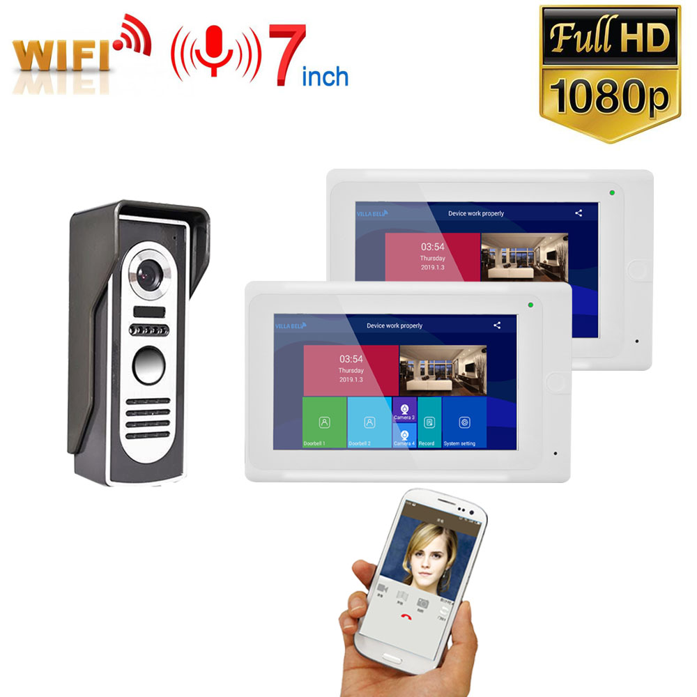 7 Inch Monitors  Wireless WIFI Video Door Phone Doorbell Intercom Entry System With Wired HD 1080P Wired Camera Night Vision,Sup
