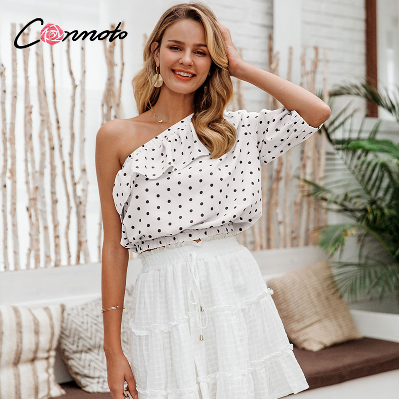 Conmoto Polka Dot Sexy Blouses Shirt Women Ruffles Casual Crop Tops Summer High Fashion Beach Holiday Blusas Muter