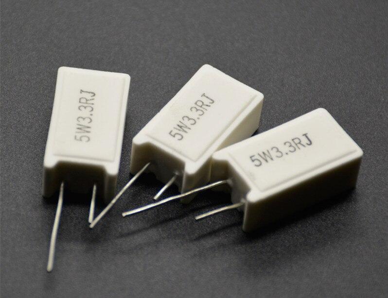 5Pcs 5W SQM RX27-5 Vertical Cement Power Resistor 1K 1.2K 1.5K 1.8K 2K 3.3K 3.9K 5.1K 6.8K 8.2K 10K Ohm Ceramic