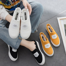 Kadın vulkanize ayakkabı yaz yeni moda kadın terlik kanvas ayakkabılar Casual Flats düz renk kadın rahat moda ayakkabı