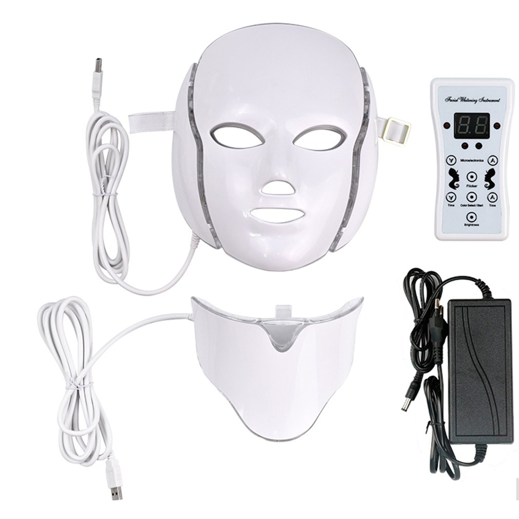 LED Light Microcurrent Facial Mask Beauty Instrument Therapy Skin Rejuvenation Facial Neck Mask Whitening Electric Device