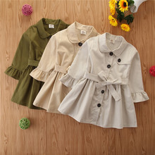 Spring Outwear Trench-Coats Girl Children Pudcoco Autumn Solid Tops Bandage Babe Long-Sleeve