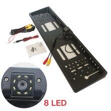 Europäische kennzeichen rahmen, LED8 licht kamera, Europäische lizenz platte rahmen mit LED rückfahr kamera