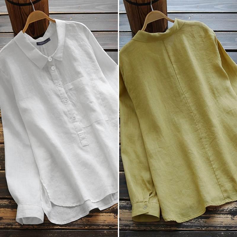 ZANZEA Plus Size Women's Blouse Elegant Office Lady Solid Shirts Casual Long Sleeve Blusas Lapel Neck Tunic Tops Chemiser Mujer
