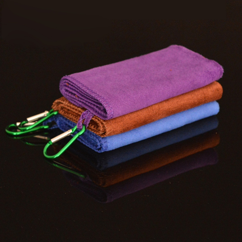 Microfibe Fishing Towel With Carabiner Clip Soft Absorbent Outdoors Sports Wipe Hands Climbing Hiking Running Towel Random Color