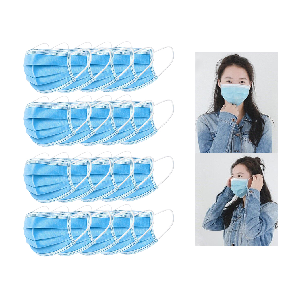 Lots 20 Disposable 4-Layer Face Protection Mask Anti-Dust Dustproof Earloop Face Mouth Masks Facial Protective Cover Masks