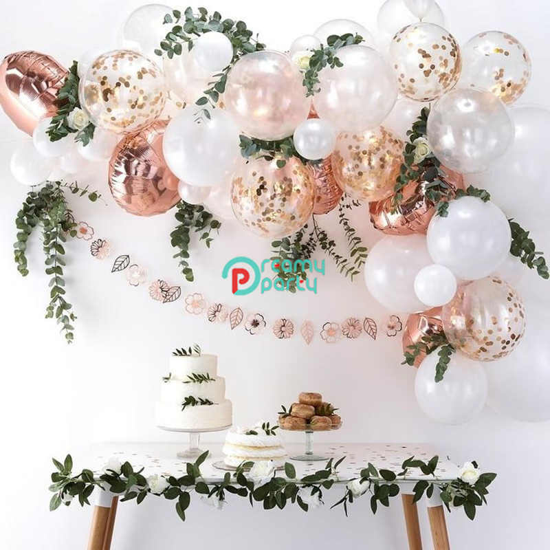 54pcs/lot Rose Gold Balloon Arch Kit White Latex Garland Balloons Baby Shower Supplies Backdrop Wedding Party Decor