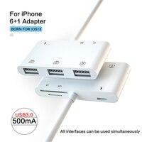 UTHAI C64 Für iPhone 6 in 1 Adapter USB 3,0 TF SD Kartenleser Verbinden Maus Tastatur Lade Konverter Für IOS13 iPHONE 11 X XR