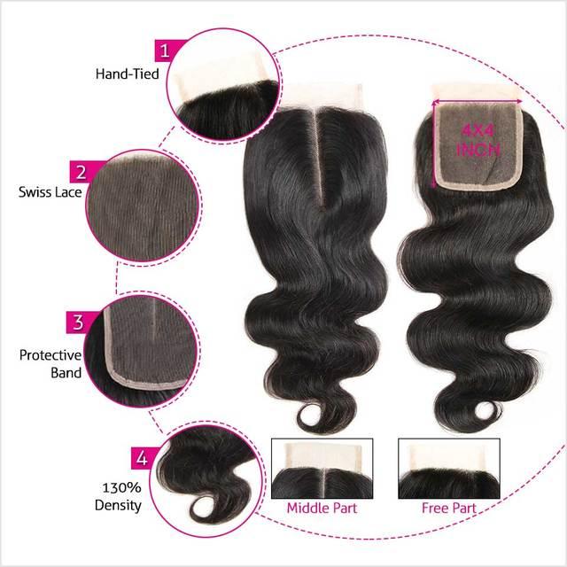 VeryYu 30 Inch Body Wave Human Hair with Closure Hair Extensions & Wigs  VerYYu