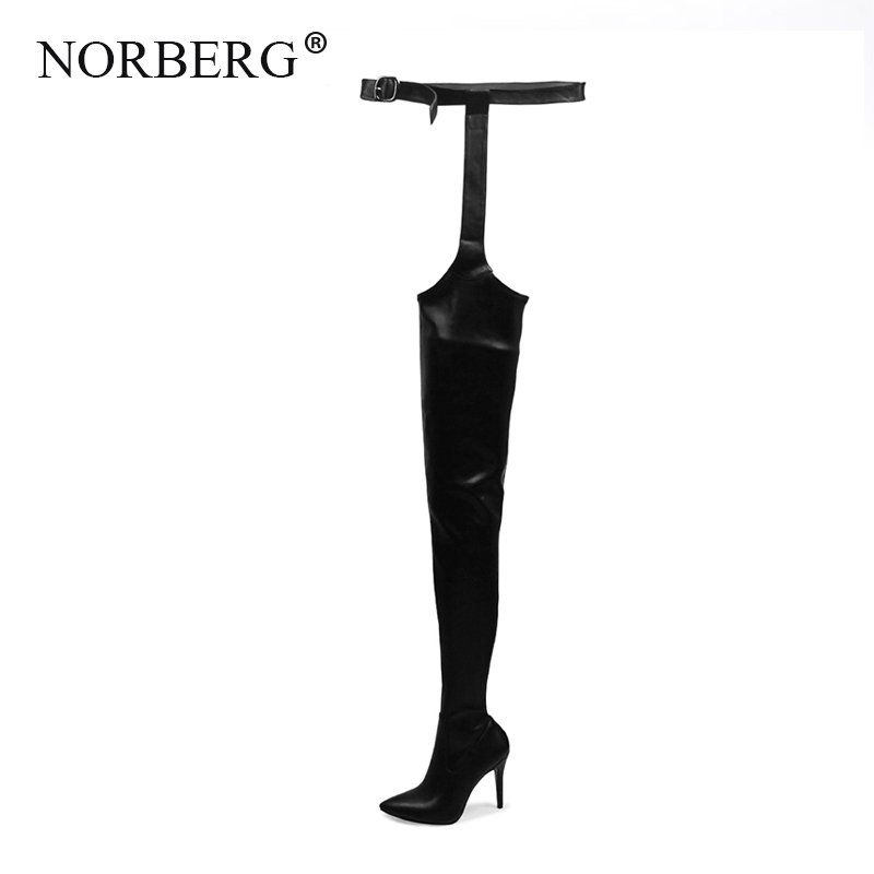 Women high heels Woman PU Over Knee Boots High fashion personality the for Shoes Pointed Toe