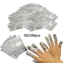 Wraps Removal Acrylic-Gel Aluminium-Foil-Remover Nail-Polish Acetone Soak-Off with 50pcs