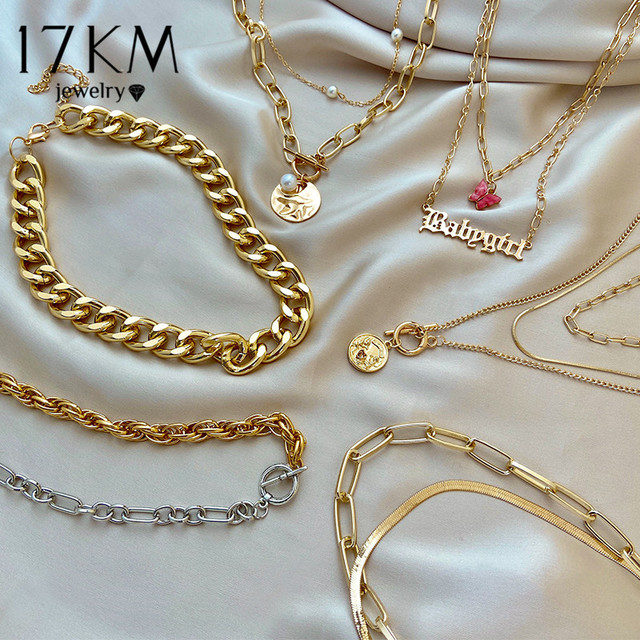 17KM Fashion Asymmetric Lock Necklace for Women Twist Gold Silver Color Chunky Thick Lock Choker Chain Necklaces Party Jewelry 1