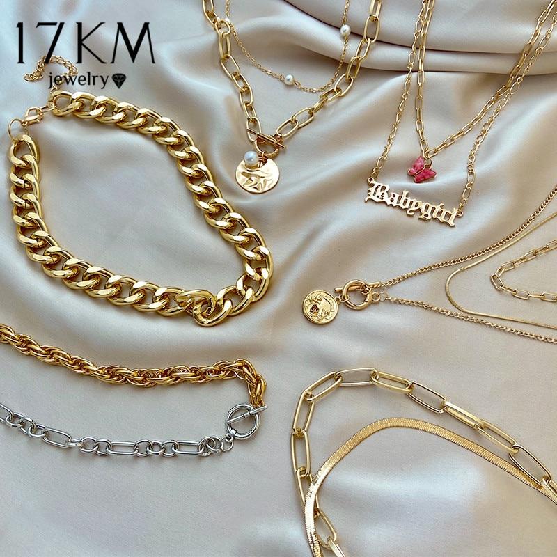17KM-collar con cierre asimétrico para mujer, Gargantilla gruesa de Color dorado y plateado, cadena con cierre, joyería para fiesta