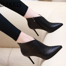 Woman fashion spring autumn pointed toe high heel boots lady casual ankle martin boots female cool street boots botas Y10328