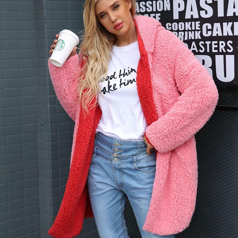 ALLNeon Open Stitch Hoodie Fuax Lambswool Long Coats Winter Women Warm Thick Overcoat Long Sleeve Shaggy Female Streetwear in Faux Fur from Women 39 s Clothing