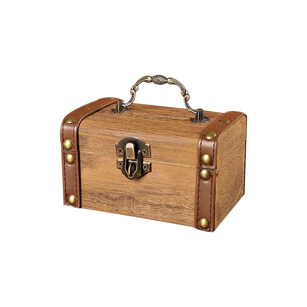 Household Small Safe Deposit Box Child Little Girl Creative Wooden Piggy Bank Retro Desktop Storage Box