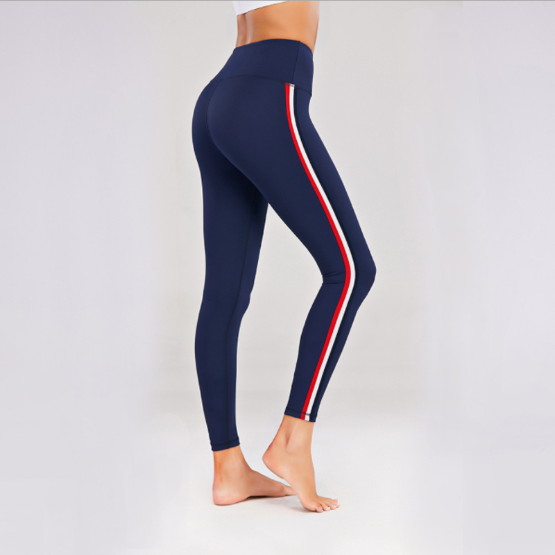 Women Activewear Stripe Yoga Pants Blue Sports Leggings High Waist Stretchy Gym Tights Women Running Pant Workout Fitness Clothes Sport9s