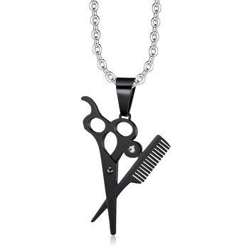 Peine de Hip Hop chapado en oro negro tijera y peine colgantes de cristal collar bonito regalo para peluquería mujeres hombres joyería