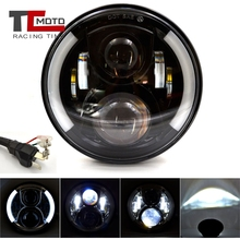 цена на TCMOTO 7 Inch H4 LED Moto Headlight For Harley Softail Slim Cafe Racer Chopper 7inch Angel Eye DRL Led Motorcycle Headlamp