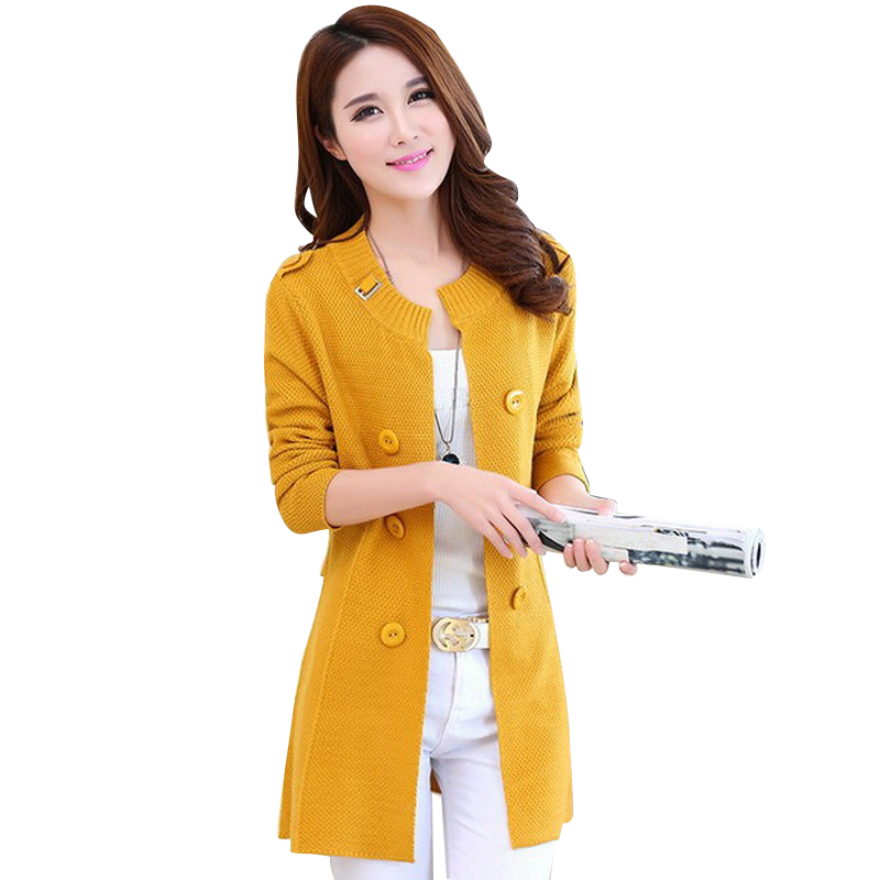 Ladies Long Sweater Coat Female Sweater Cardigan Shawl Women Long Sleeve Casual Loose Cardigan Yellow L
