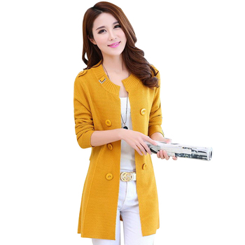 Ladies Long Sweater Coat Female Sweater Cardigan Shawl Women Long Sleeve Casual Loose Cardigan Yellow L