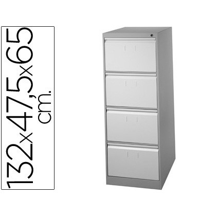 FILE DRAWER SOIL 'S METAL 4 DRAWER-TWO COLOR 132 CM HIGH 65CM PROF 47,5ANCHO COLOR GRISN1375 GUIDES TELESC ANTIVUELC