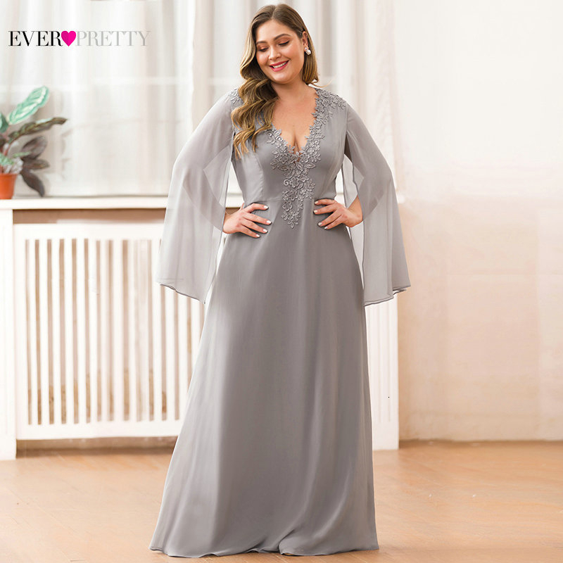 Elegant Plus Size Mother Of The Bride Dresses For Weddings Ever Pretty Lace A-Line V-Neck Long Sleeve Formal Dinner Gowns 2020