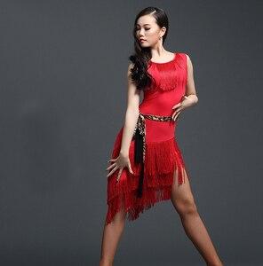 Image 5 - Đỏ Nhảy Latin Đầm Trưởng Thành Luyện Tập Nhảy Latin ĐẦM TUA RUA 1 Dess Cho Nữ Bóng Tango Cha Cha Cha vũ Trang Phục