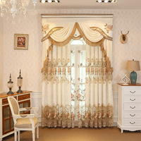 Spliced velvet embroidered European style curtains, living room bedroom dining curtains