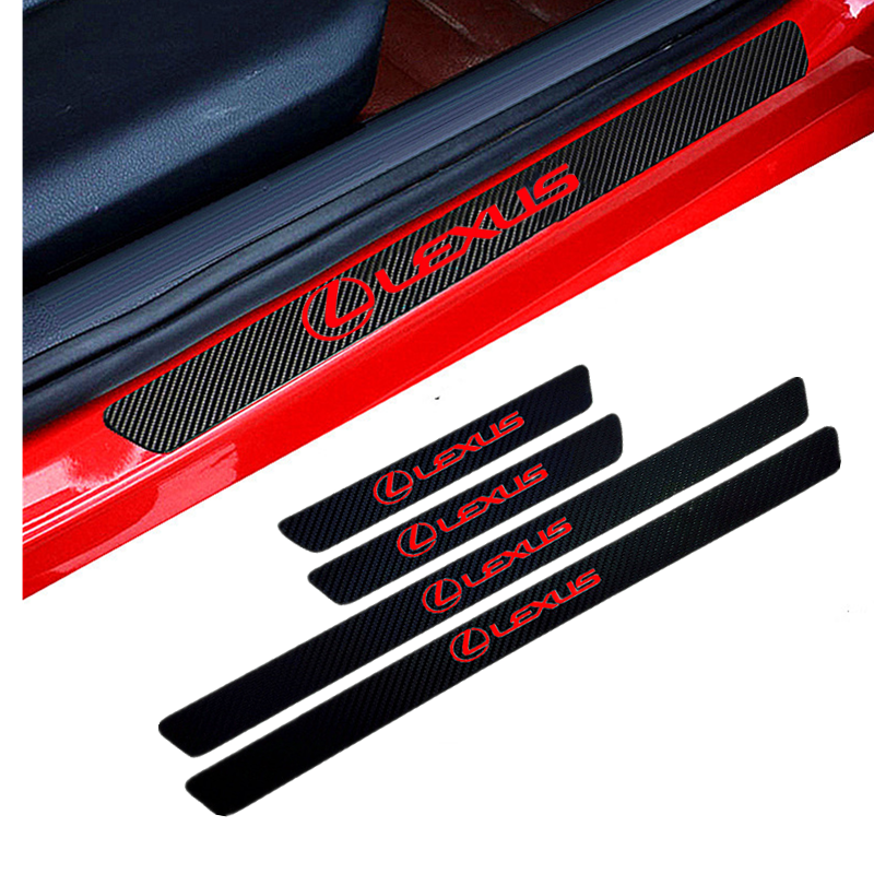 4PCS Car Styling Carbon Fiber Door Sill Protector Stickers For Lexus RX300 RX450 IS200 IS250 IS300 GS300 Car Accessories