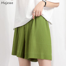 Short vert pour femmes, grande taille 4XL, minimaliste, mode quotidienne, Harajuku, taille élastique, été