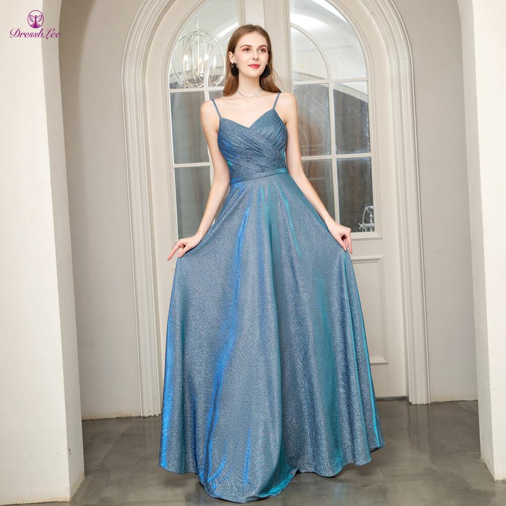 Vestido-de-festa Long Prom Dress A-Line Spaghetti Strap Backless Pleat Prom Dresses Youthful Formal Party Gown