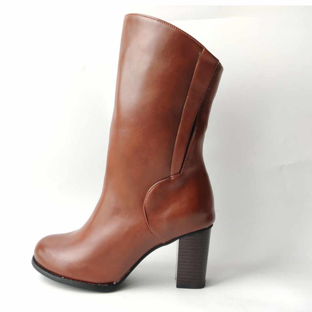 ฤดูหนาวรองเท้าแฟชั่นผู้หญิง Pu หนังรอบ Toe Zipper ส้นสูง Casual Vintage ผู้หญิง botas feminina